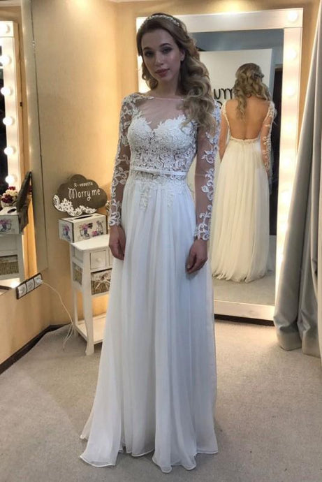Elegant Long Sleeves Lace Open Back Floor-Length Wedding Dresses