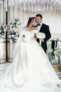 White Off-the-Shoulder  Court Train Satin Wedding Dress with Appliques