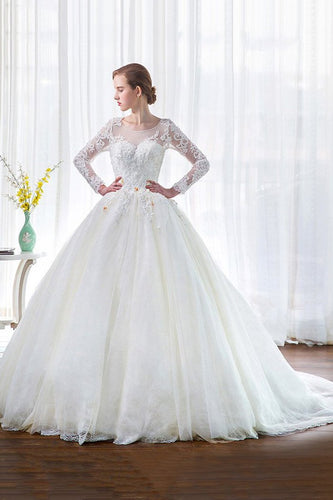 A-Line/Princess Lace  Scoop Neck Long Sleeves Wedding Dresses