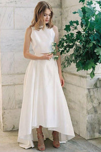 Asymmetrical Satin Sleeveless Wedding Dresses