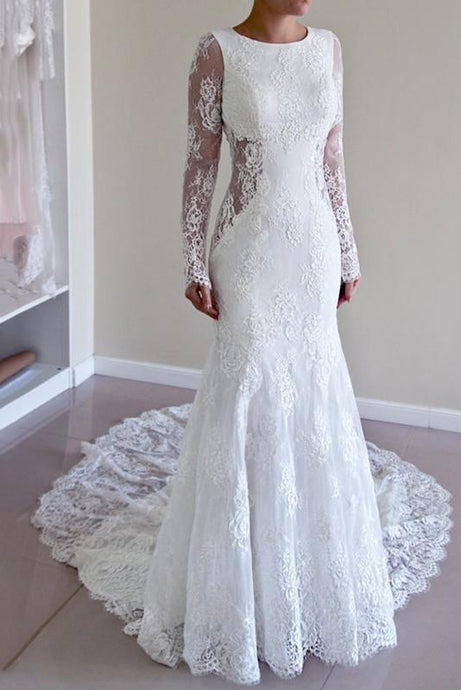 Trumpet/Mermaid Lace Long Sleeves Sweep Train Wedding Dresses