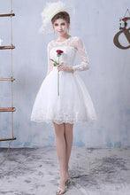 A-Line/Princess Short Lace Long Sleeves Wedding Dresses