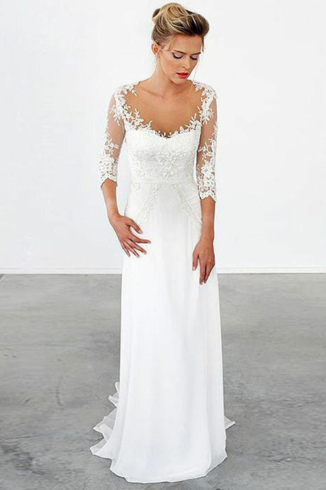 Lace Off-the-Shoulder Sweep Train  1/2 Sleeves Wedding Dresses