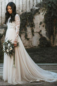 Elegant A-Line/Princess Lace Sweep Train Long Sleeves Wedding Dresses