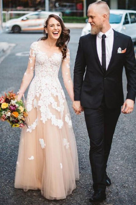 Trumpet/Mermaid Floor-Length Tulle Long Sleeves Wedding Dresses with Appliques Lace