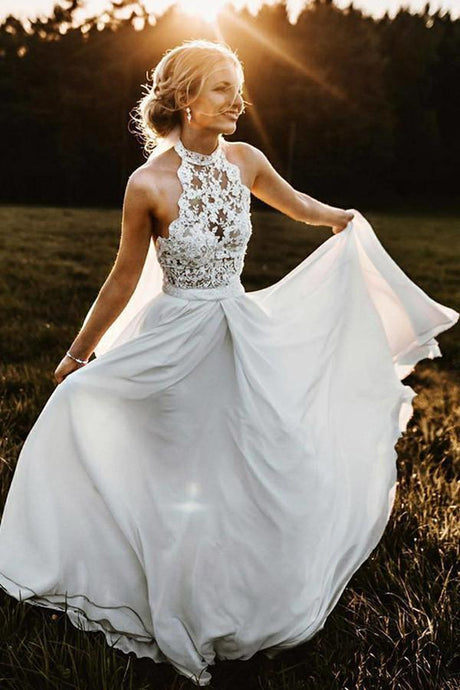 A-Line/Princess Lace Sleeveless Halter Floor-Length Wedding Dresses