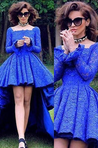 Blue Sweet Asymmetrical A-line Long Sleeves Open Back Lace Prom Dresses