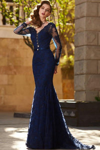 Trumpet/ Mermaid V-neck Full/Long Sleeves Long Formal Prom Dresses