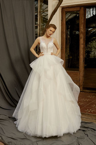 Ivory Tulle Sleeveless Wedding Dresses with Beading