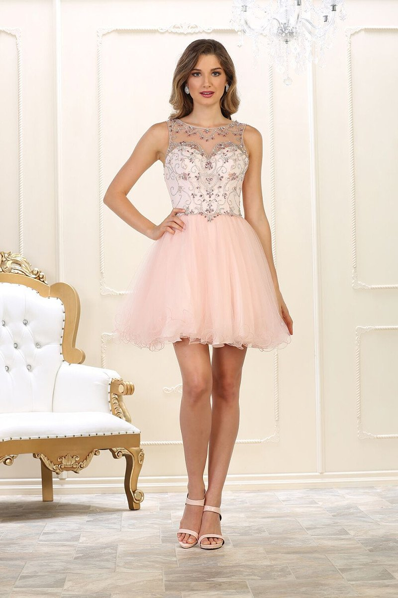 A-line Illusion neckline Sleeveless Beading Short/Mini Tulle Prom Dresses