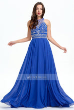 Royal Blue 2019 Long Sleeveless Chiffon Rhinestone A-line Prom Dresses