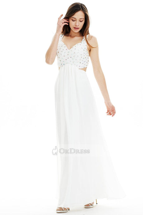 Long V-neck Beaded Cut Out White Prom Dress
