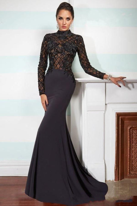 Black Most Popular Jersey Sheath/Column High-neck Appliqued Evening Dresses