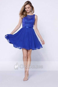 Blue A-line/Princess Sleeveless Beading Short Formal Cocktail Dresses