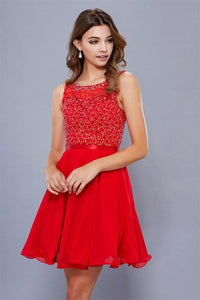 Red A-line/Princess Sleeveless Beading Short Formal Cocktail Dresses
