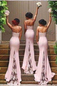 Pink Vogue Trumpet/Mermaid Spaghetti Straps Lace Appliques Long Bridesmaid Dresses