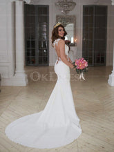 White Cute Scoop Lace Zipper Wedding Dresses