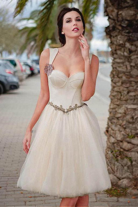 Ivory Absorbing Satin & Tulle Sweetheart Neckline A-Line Knee-Length Homecoming Dress with Beaded Lace Appliques