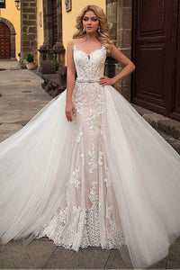 Champagne Modern Sleeveless Church Train  Wedding Dress with Removable Skirt