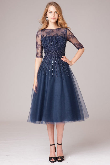 Beaded Tea-length Tulle Mother of the Bride Dresses