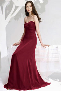 Superior Chiffon Sleeveless A-line Floor-length Red Bridesmaid Dresses