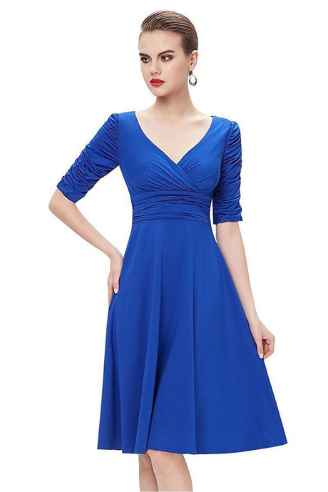 Blue A-line V-neck 1/2 Sleeves Knee-length Formal Cocktail Dresses