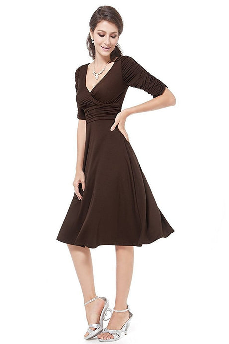 A-line V-neck 1/2 Sleeves Knee-length Formal Brown Cocktail Dresses