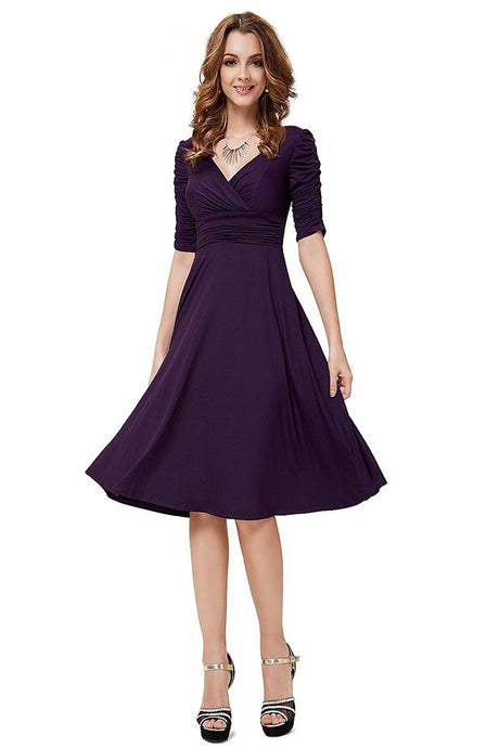 A-line V -neck 1/2 Sleeves Knee-length Formal Cocktail Dresses