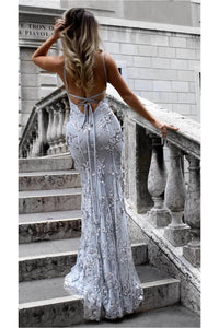Silver Mermaid/ Trumpet Spaghetti straps Lace Applique Beading Long Prom Dresses