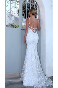 White Mermaid/ Trumpet Spaghetti straps Lace Applique Beading Long Prom Dresses