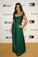 Green Sofia Vergara Off The Shoulder sexy Pleated/Ruched Chiffon Celebrity Prom Dresses Oscars