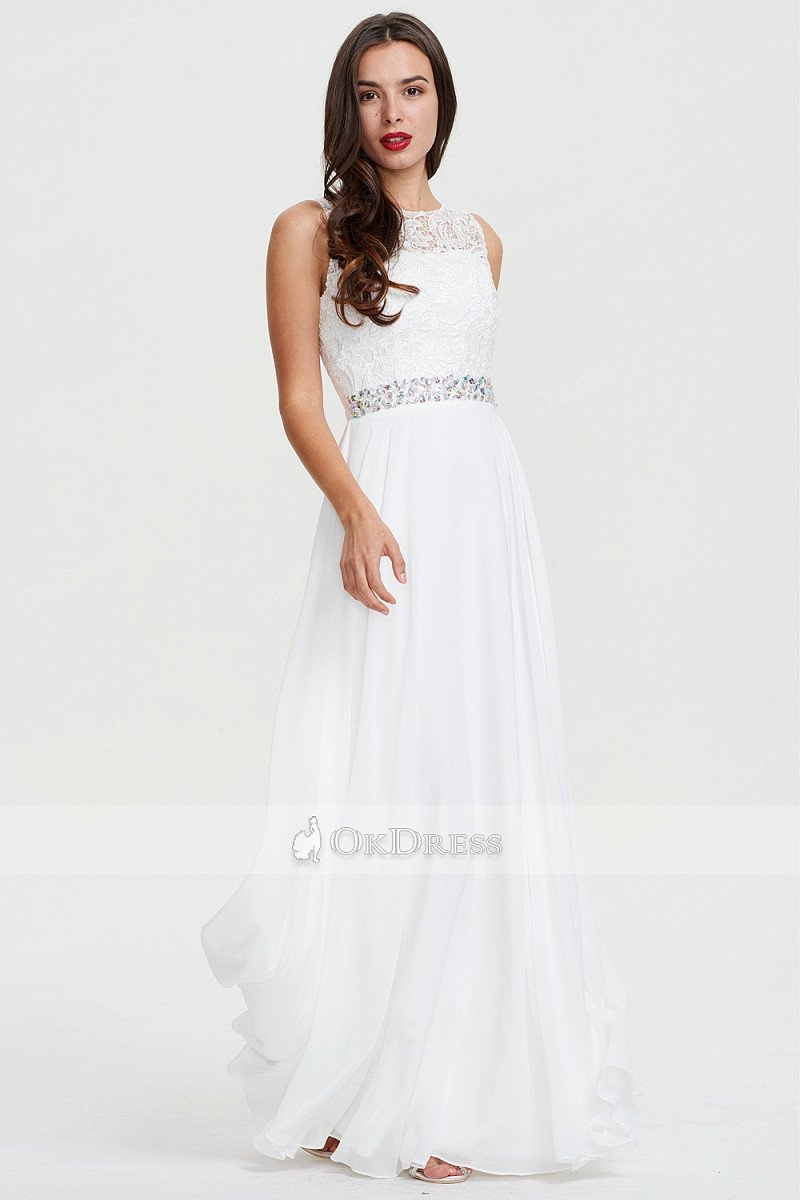 White Long Scoop Neck A-line Chiffon White Sleeveless Evening Dress
