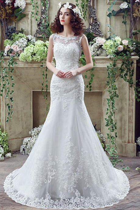 Ivory Exclusive Bateau Sleeveless Wedding Dresses