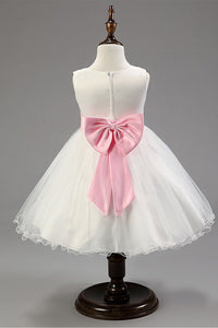 Glittering Sleeveless Tea-length Ball Gown Tulle Pink Flower Girl Dresses
