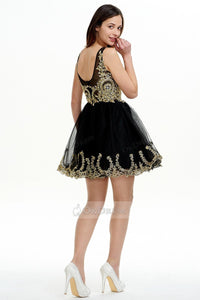 Black OKdress Jewel-Embellished V-neck Short Prom Dress 2019