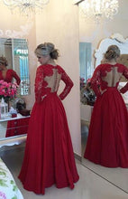 Red Sacred Empire Covered Button Full/Long Sleeve Long/Floor-length Prom Dresses