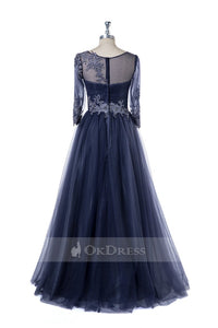 Tulle Floor-Length Mother of the Bride Dresses with Sleeves
