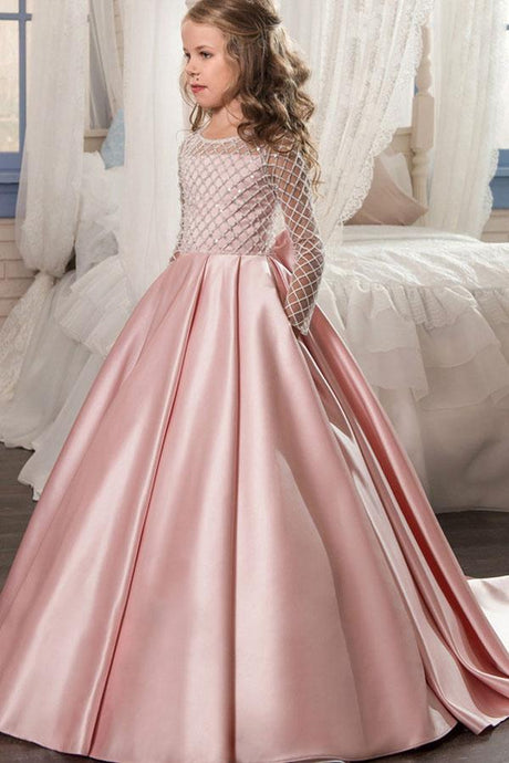 Long Sleeves Satin Princess Flower Girl Dresses