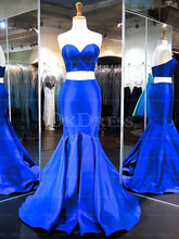 Blue Trumpet/Mermaid Sweep Train Two-Piece Prom Dresses