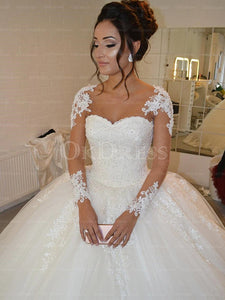 Ivory Eatravagant Ball Gown Applique Sweep Train Sweetheart Wedding Dresses