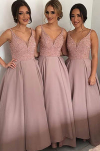 Pink A-line Sleeveless V-neck Sweep Train Sequins Bridesmaid Dresses