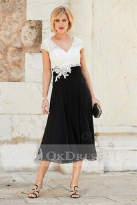 Black A-line Cap Sleeves Long Chiffon Lace Mother of the Bride Dresses