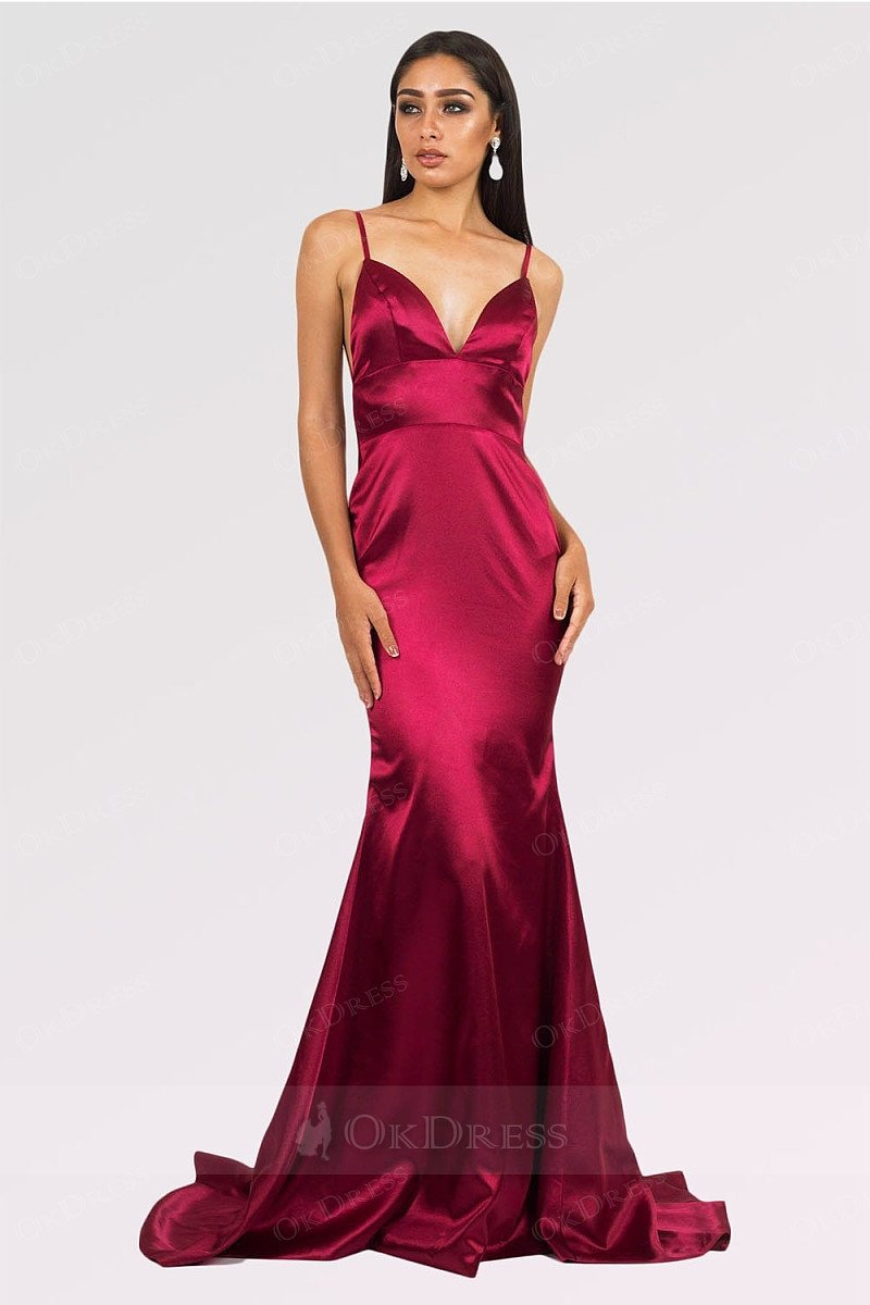 Burgundy Long Mermaid V-neck Satin Backless Prom Dresses
