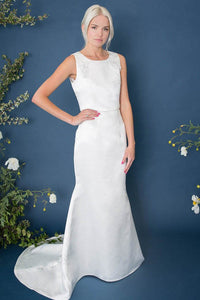 Ivory Simple Satin Mermaid Wedding Dresses