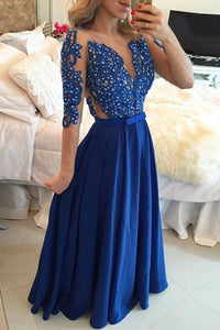 Precious A-line Chiffon Scoop 1/2 Sleeves Prom Dresses