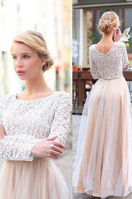 Floor-length Long Sleeves Pearl Pink Zipper Natural Prom Dresses