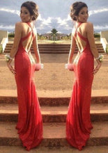 Red New Design Sleeveless Sheath/Column Sequined Prom Dresses