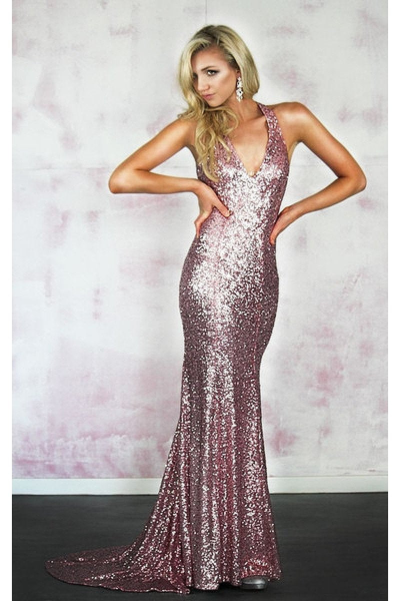 New Design Sleeveless Sheath/Column Sequined Prom Dresses