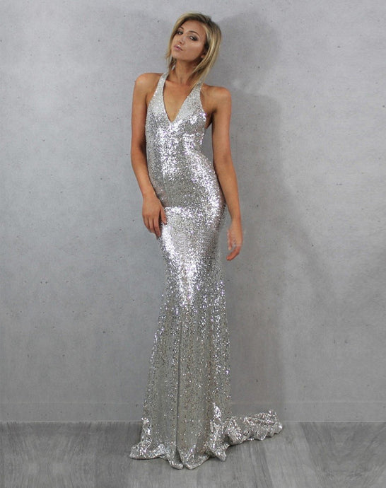 Silver New Design Sleeveless Sheath/Column Sequined Prom Dresses