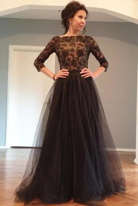 Nice A-line/Princess 3/4 Sleeves Beading Long Lace Tulle Prom Dresses